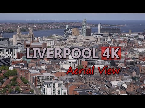 Ultra HD 4K Liverpool Travel England Tourism Aerial View UK Tourist Sights UHD Video Stock Footage
