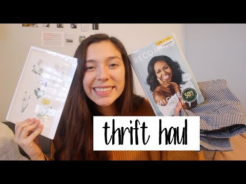 Sustainable Second Hand Thrift Haul   clothing, book, art + more