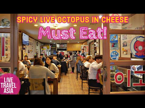 Korean Drinking Food, Spicy Live Octopus in Yeongdeungpo Area