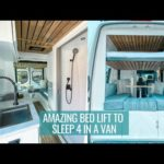 FAMILY VAN TOUR: amazing bed lift that sleeps 4 with a full bathroom | SPRINTER VAN CONVERSION